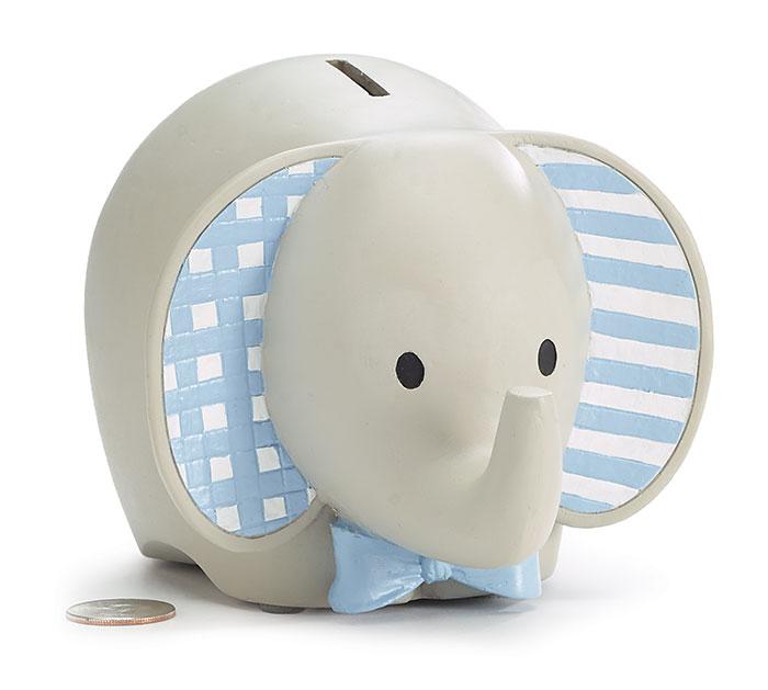 BLUE RESIN ELEPHANT BANK