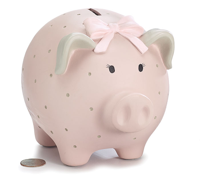 PINK SWISS DOT RESIN PIG BANK