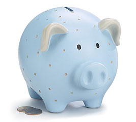 BLUE RESIN PIG BANK