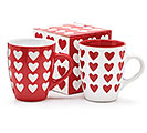 RED OR WHITE EMBOSSED MUG WITH HEARTS