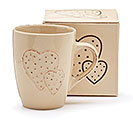 BEIGE EMBOSSED MUG WITH DOUBLE HEARTS