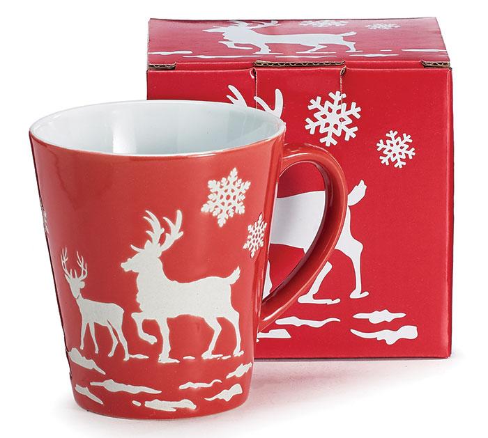 RED EMBOSSED MUG W/ DEER AND SNOWFLAKES