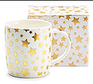 GOLD METALLIC STARS PORCELAIN MUG W/ BOX
