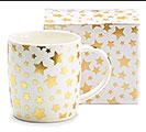GOLD METALLIC STARS PORCELAIN MUG W/ BOX