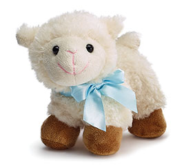 PLUSH STANDING LAMB WITH BLUE SATIN BOW