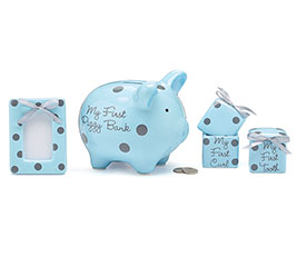 BABY BOY BLUE/GRAY DOTS GIFT SET