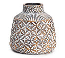 EMBOSSED GEOMETRIC TERRA COTTA VASE