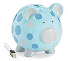 BLUE/GRAY DOT CERAMIC PIG BANK