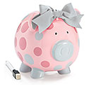 PINK/GRAY DOT CERAMIC PIG BANK