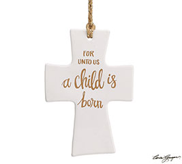 WHITER THAN SNOW CROSS ORNAMENT