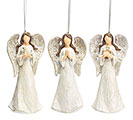 WOOD CARVED RESIN ANGEL ORNAMENT SET