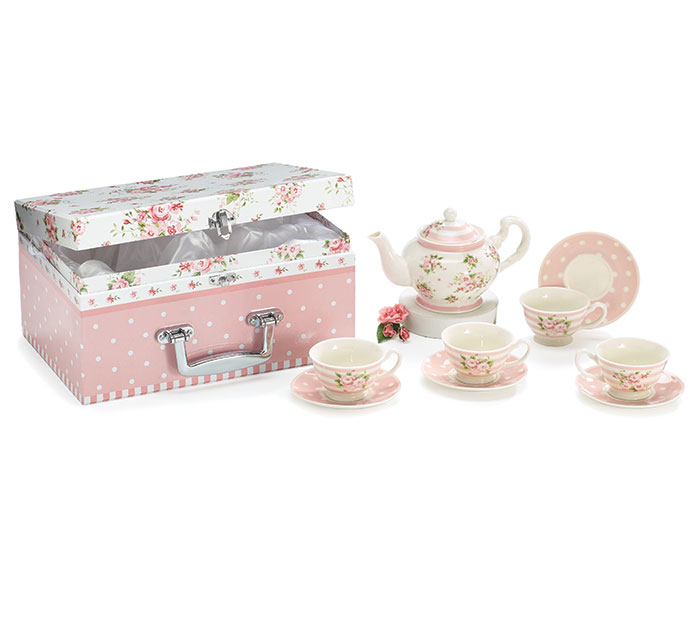 PINK ROSES CHILDS PORCELAIN TEA SET W/ B