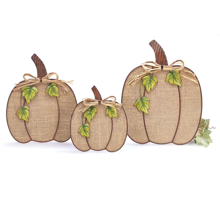 BURLAP AND TIN PUMPKIN SET