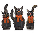 HAND PAINTED WOOD CAT DECOR TRIO