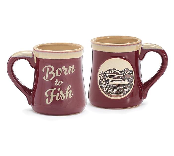 BORN TO FISH PORCELAIN MUG W/BOX