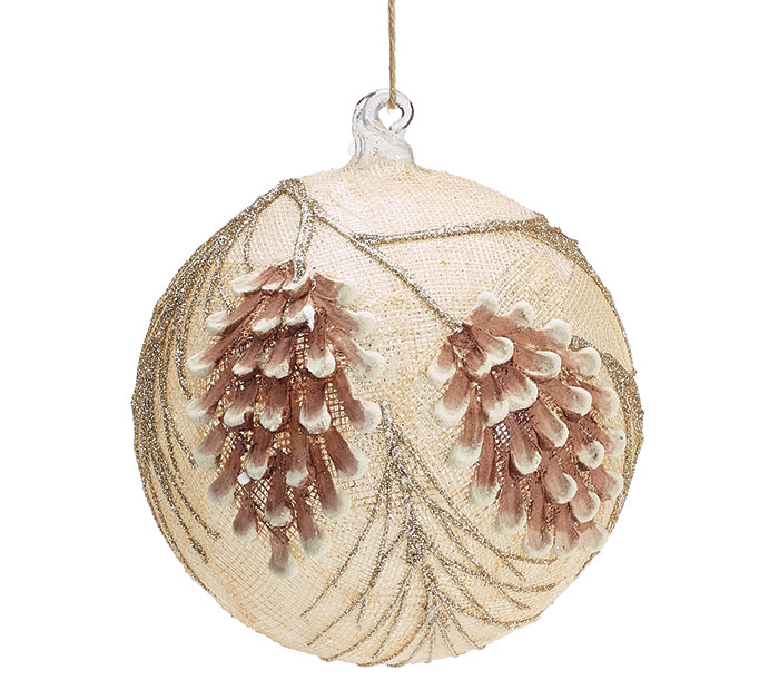 "6"" RAISED PINE CONE GLASS BALL ORNAMENT"
