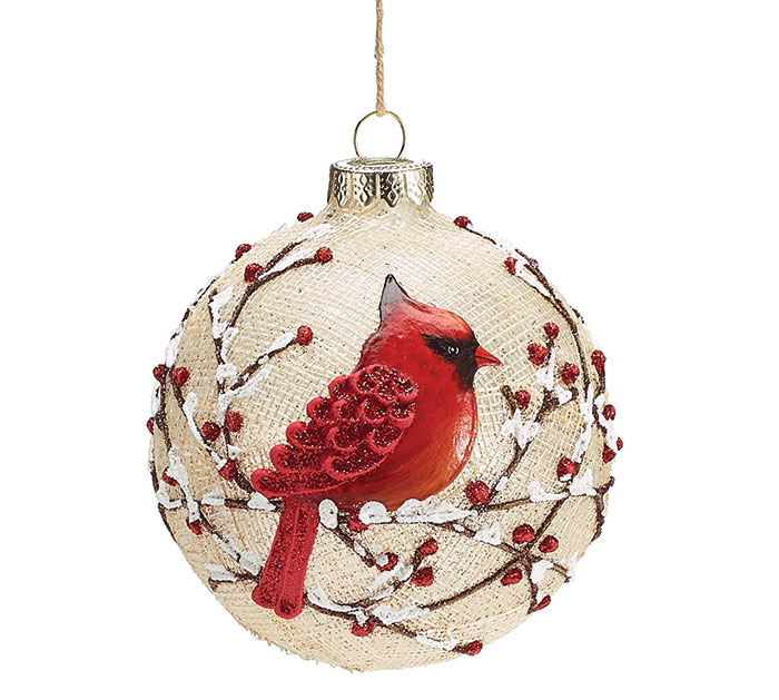 red cardinal on gauze glass ornament