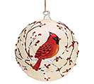"6"" RED CARDINAL ON GAUZE GLASS ORNAMENT"
