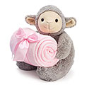 PLUSH GRAY LAMB WITH PINK BLANKET