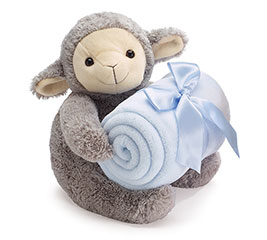 PLUSH GRAY LAMB WITH BLUE BLANKET