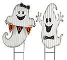 HALLOWEEN GHOST BOY/GIRL YARD STAKE SET