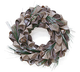 BURLAP/NEUTRAL PLAID DECOR WREATH
