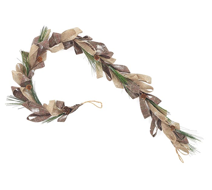 "60"" NATURAL PLAID/BURLAP GARLAND"