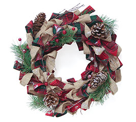 BURLAP/RED PLAID DECOR WREATH