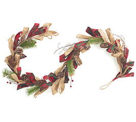 "60"" RED PLAID/BURLAP/PINE CONE GARLAND"