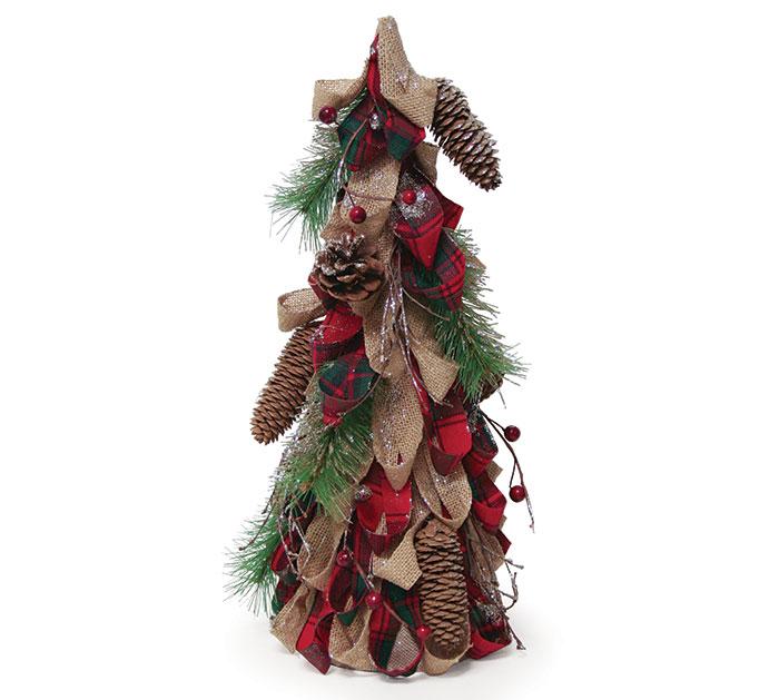 "16"" BURLAP/RED PLAID DECOR TREE"
