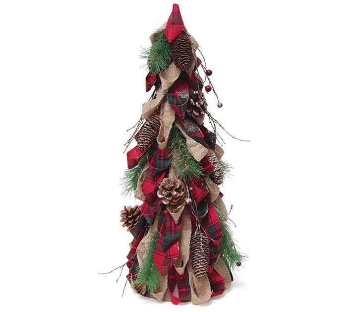 "24"" BURLAP/RED PLAID DECOR TREE"