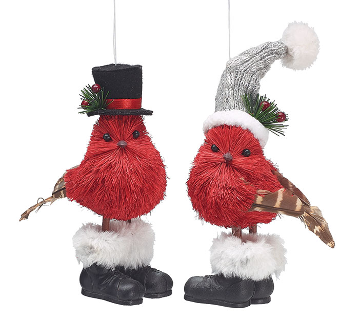 red bird sisal couple ornament - Red Cardinal Christmas Decorations