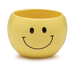 YELLOW SMILEY FACE CERAMIC PLANTER