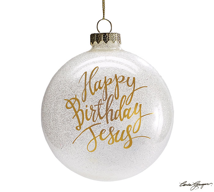 HOLIDAY GOLD HBD JESUS GLASS ORNAMENT