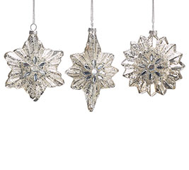 MERCURY GLASS SNOWFLAKE ORNAMENT SET