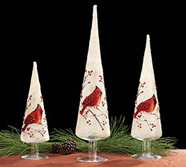 GLASS CONE SHAPED TREE WITH CARDINAL SET