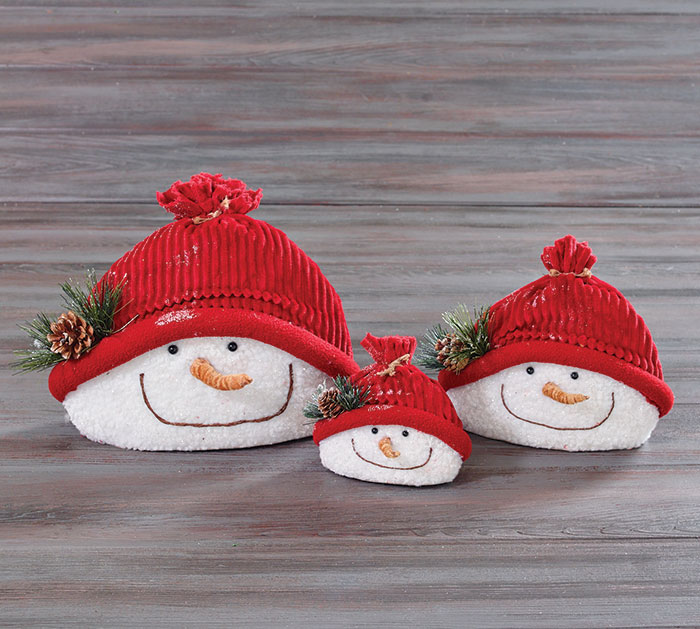 SNOWMAN HEAD TRIO DECOR