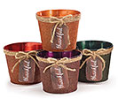 "4"" TIN POT COVER SET W/ THANKFUL TAG"