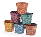 "4"" FALL EMBOSSED LEAF TIN POT COVER SET"