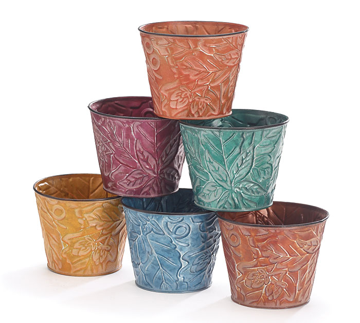 """4"""" FALL EMBOSSED LEAF TIN POT COVER SET"""