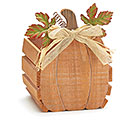 WOOD PUMPKIN W/ METAL LEAVES PLANTER
