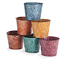"6"" FALL EMBOSSED LEAF TIN POT COVER SET"