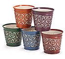"4"" FALL BOHEMIAN TIN POT COVER SET"