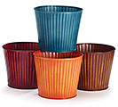 "6"" RIBBED FALL COLORS TIN POT COVER SET"