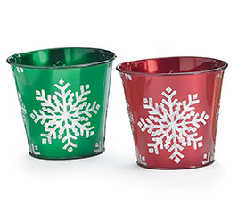 POT COVER SNOWFLAKE ASTD RED  GREEN