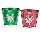 POT COVER SNOWFLAKES ASTD RED  GREEN