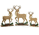 SISAL NATURAL DEER TRIO ON WOOD BASES