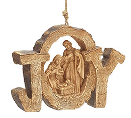 WOOD CARVED JOY W/ HOLY FAMILY ORNAMENT