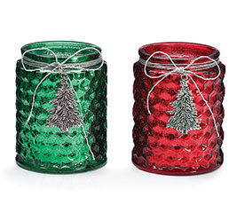 RED AND GREEN ASSORTED CANDLEHOLDER/VASE