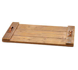 RUSTIC WOOD SLAT TRAY WITH SIDE HANDLES